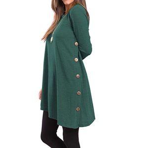 Tops - Long Sleeve Side Button Tunic Dress